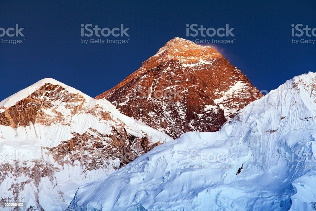 Evening colored view of Mount Everest stock photo