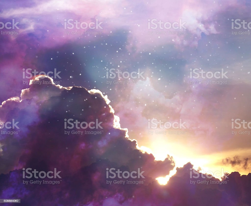 evening colorful sky with shining stars stock photo