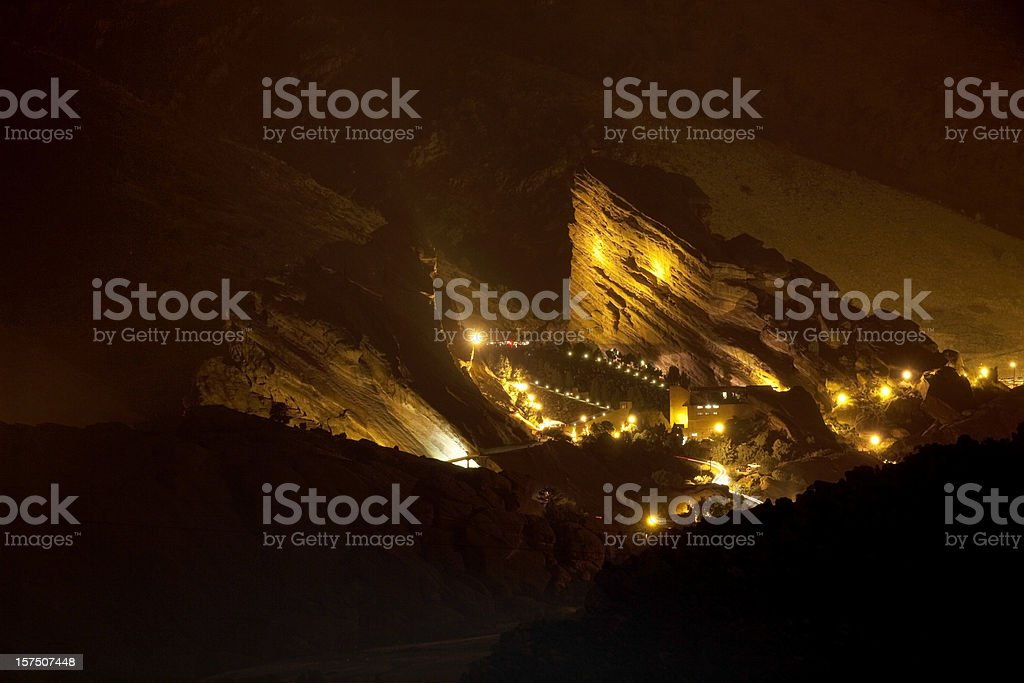 Evening Concert at Red Rocks Ampitheater, Colorado stock photo
