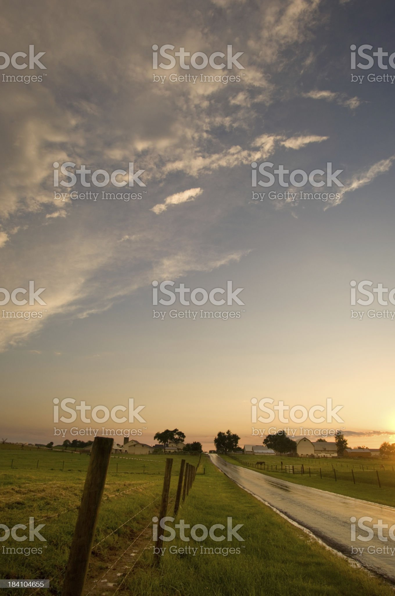 Evening Country Road royalty-free stock photo