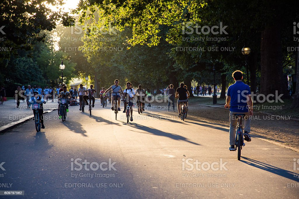 Evening cycling in Hyde Park stock photo