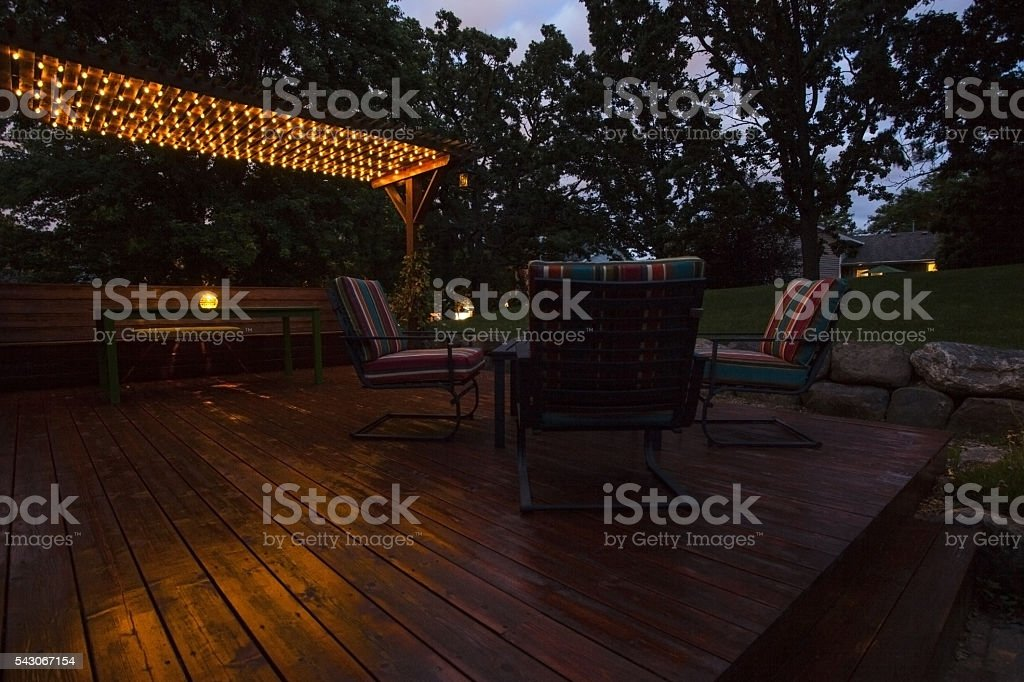 Evening Deck Lights stock photo