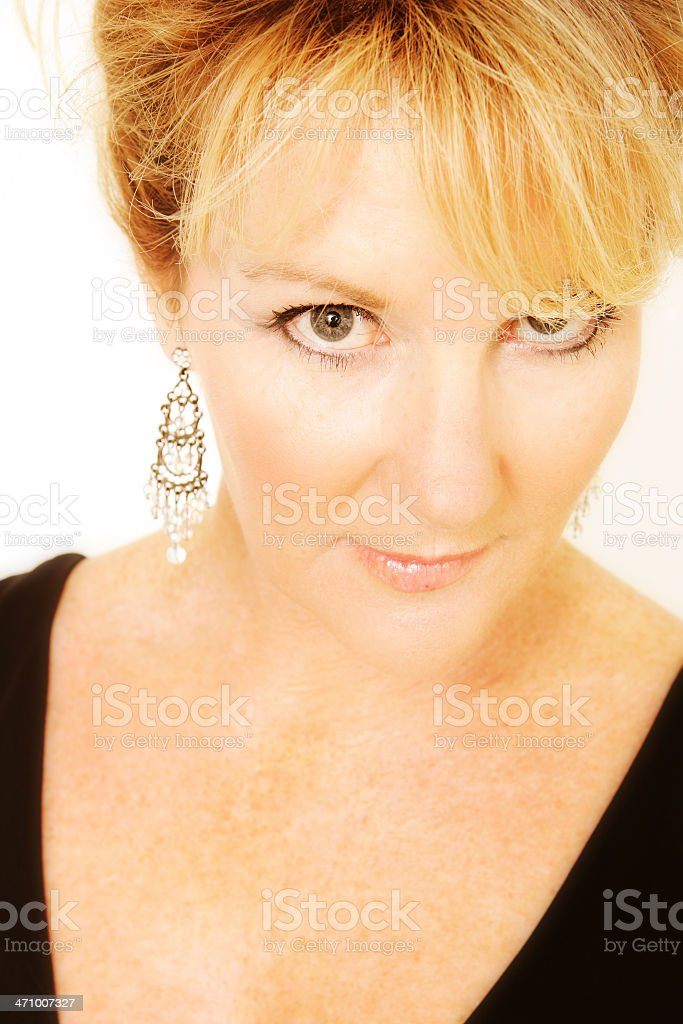 Evening Demure woman stock photo