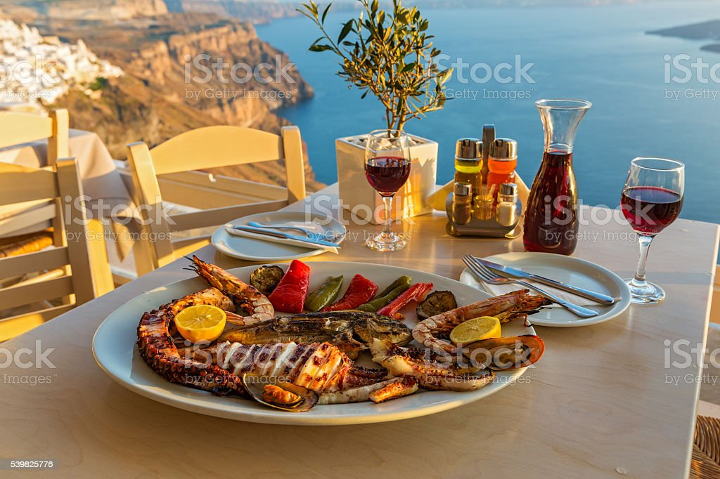 Evening dinner with seafood stock photo