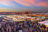 Evening Djemaa El Fna Square with Koutoubia Mosque, Marrakech, Morocco