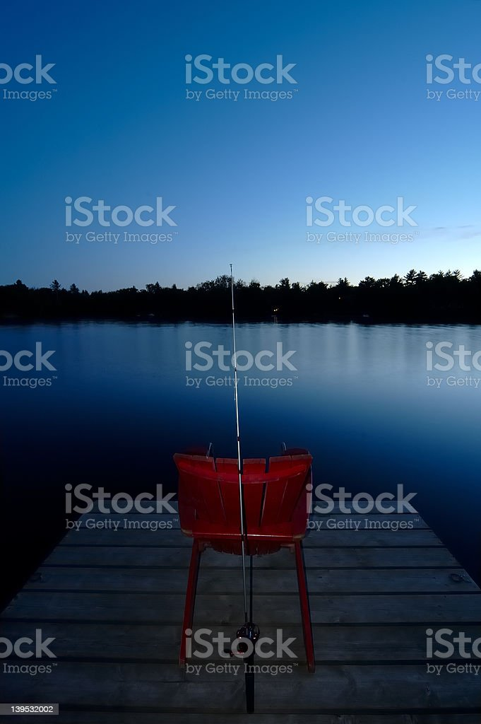 Evening Dock Chair royalty-free stock photo