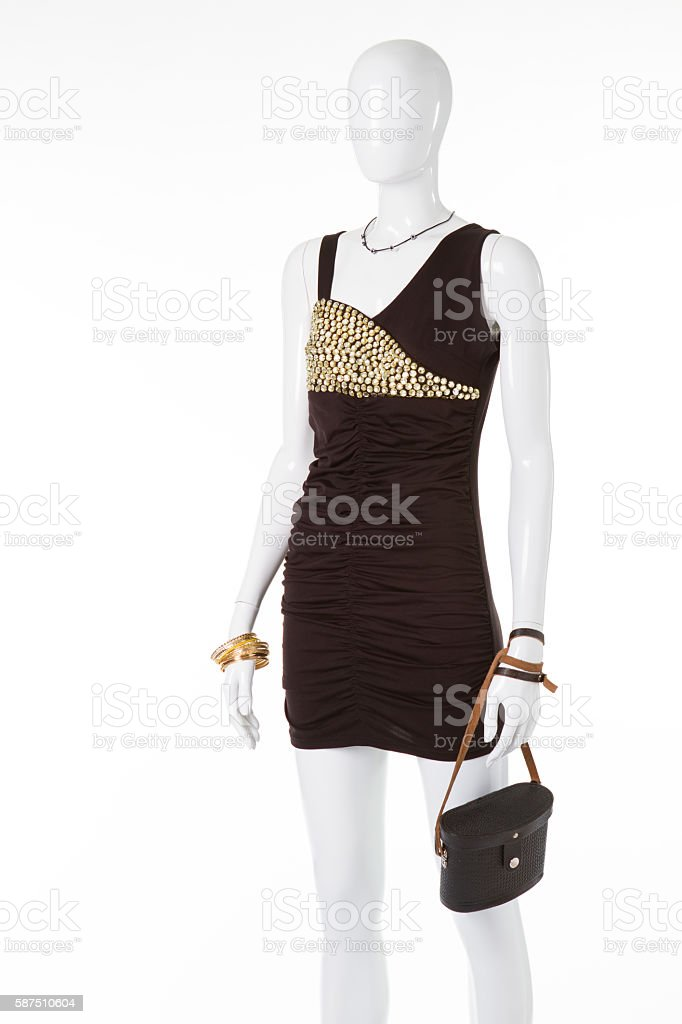 Evening dress for a cocktail party. stock photo