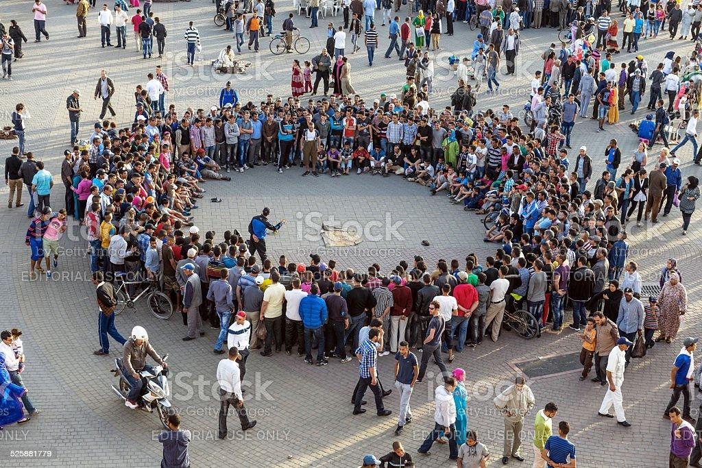 Evening Entertainment at Lehdim Square, Meknes, Morocco stock photo