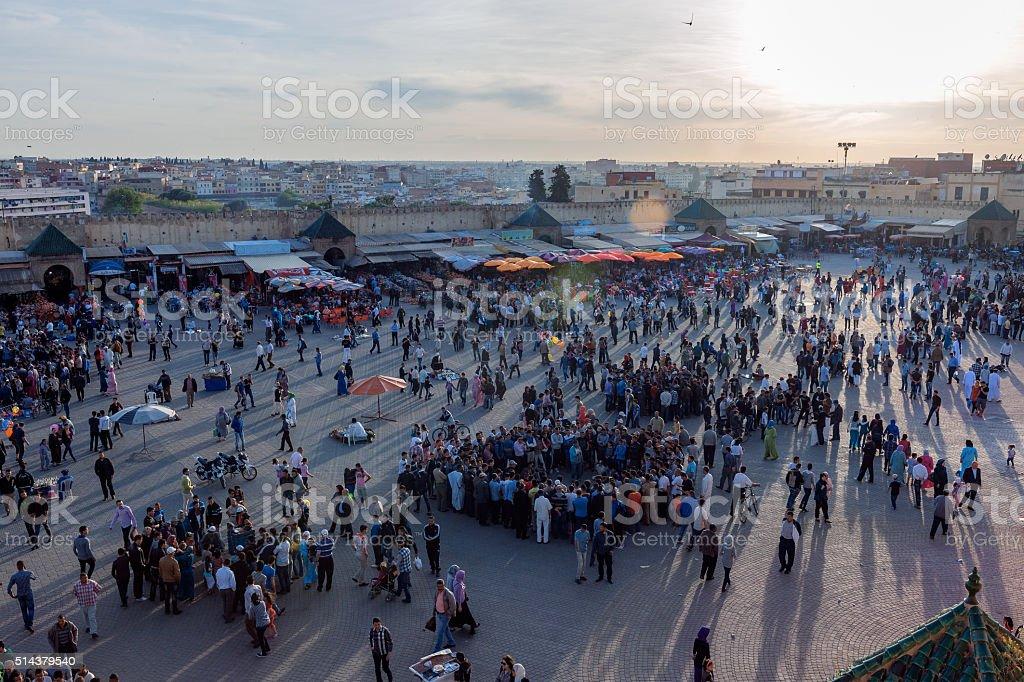 Evening Entertainment at Lehdim Square, Meknes, Morocco,North Africa stock photo