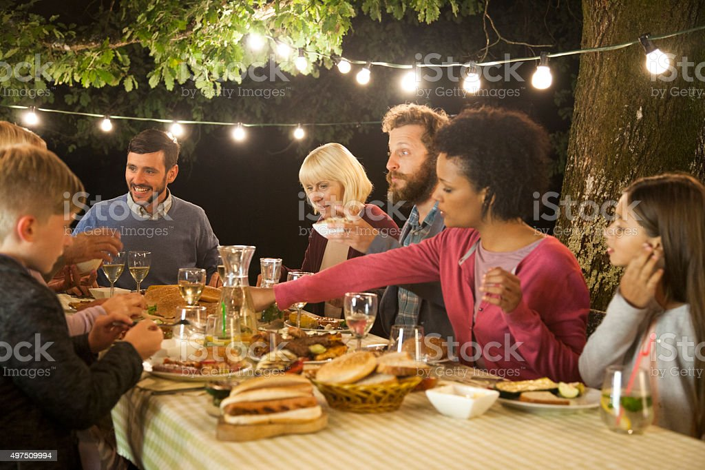 Evening family picnic party stock photo