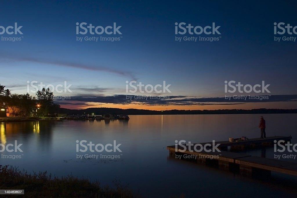 Evening Finshing at Rice Lake royalty-free stock photo