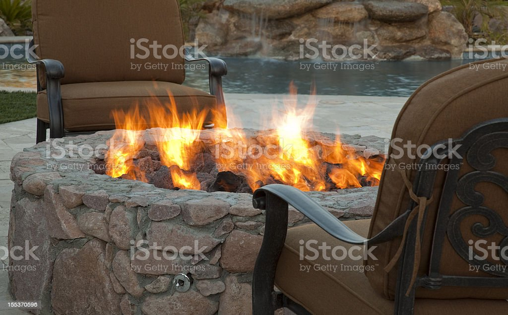 Evening Fireside Outdoor Seating stock photo