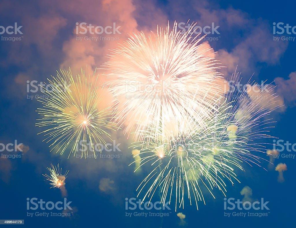Evening fireworks in honor of a holiday royalty-free stock photo