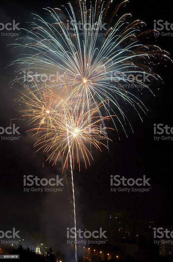 evening fireworks stock photo