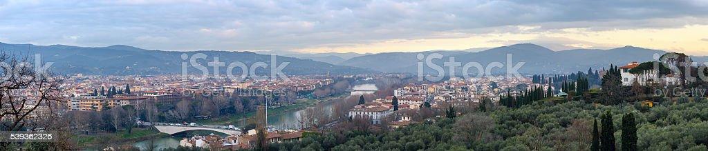 Evening Florence top panorama (Italy). stock photo