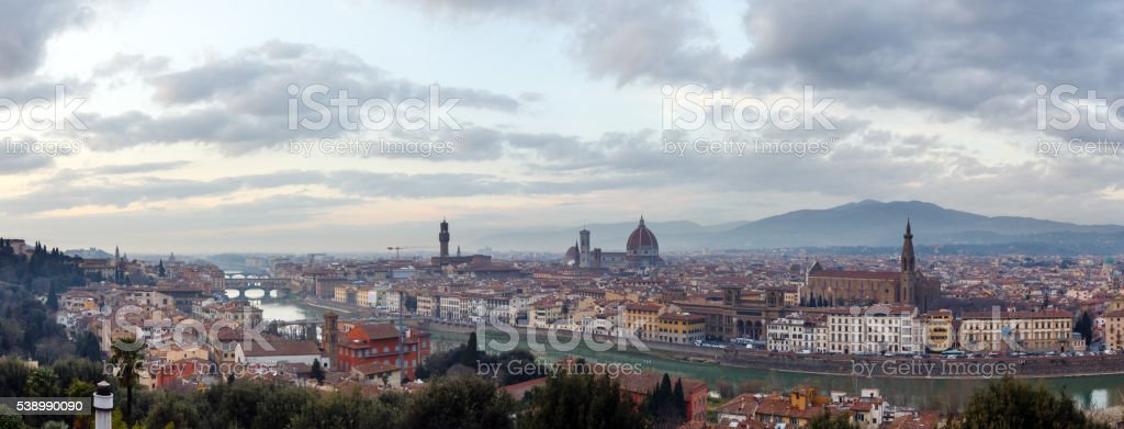 Evening Florence top view (Italy). stock photo