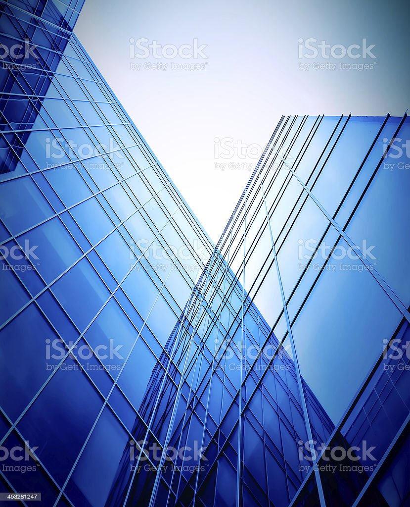 evening glass perspactive wall of business building corner royalty-free stock photo