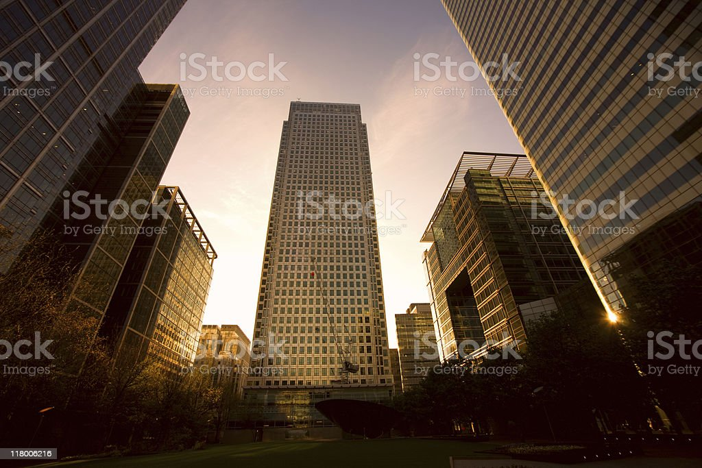 Evening glow at Canary Wharf royalty-free stock photo