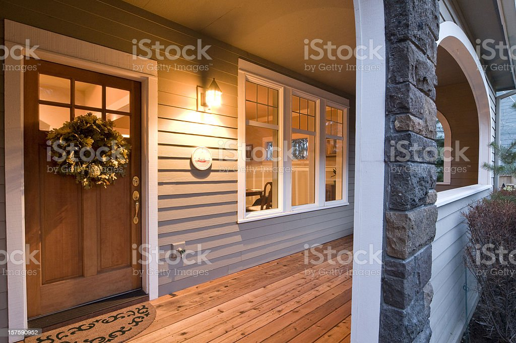 Evening glow of the front porch stock photo