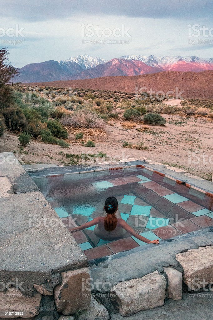 Evening hot spring view stock photo