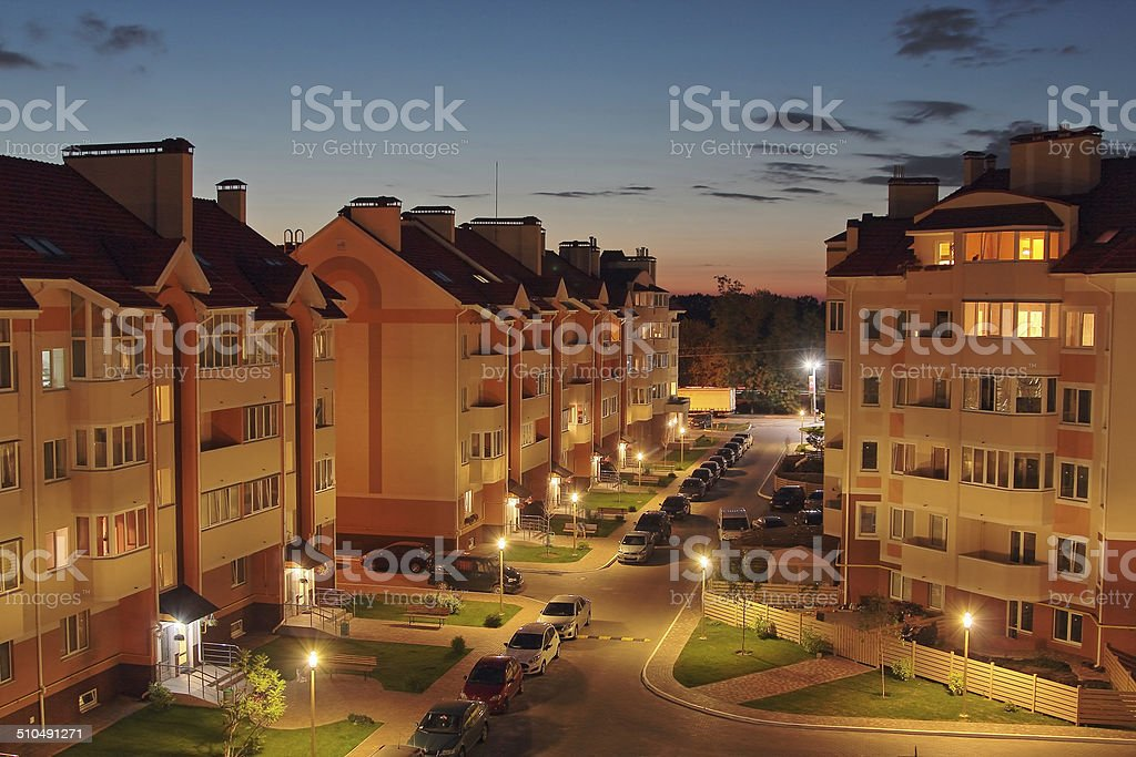 Evening houses stock photo