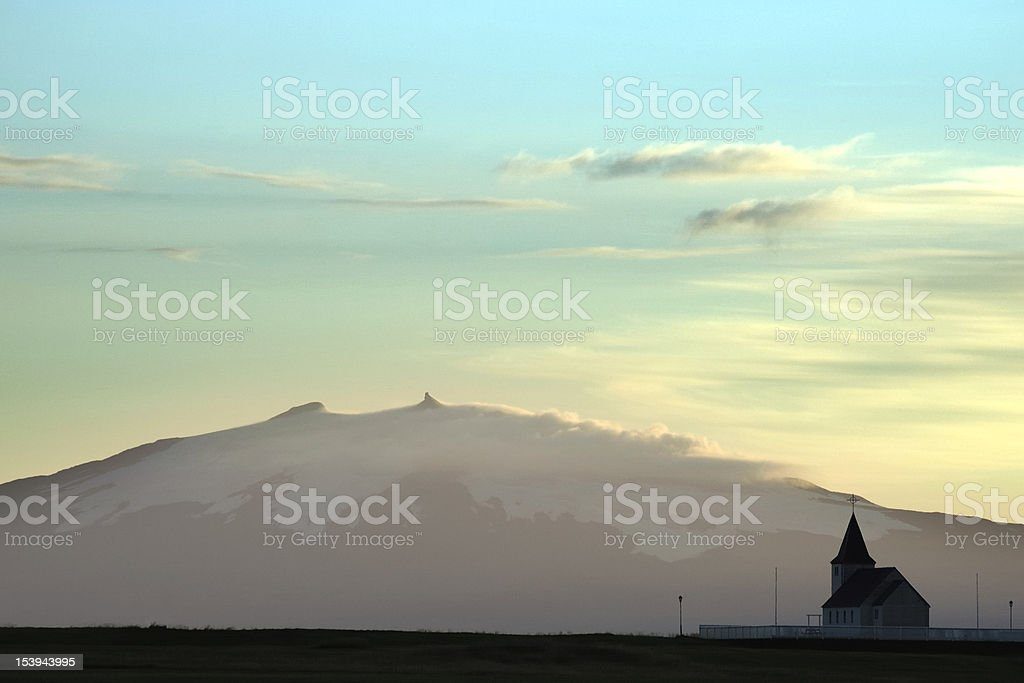 Evening Iceland landscape. stock photo