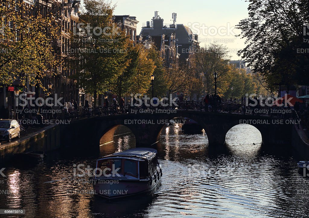 Evening in Amsterdam, Holland stock photo