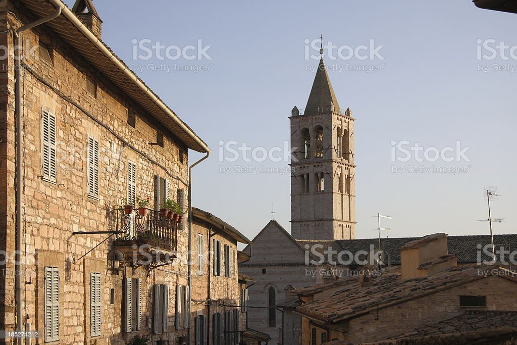 Evening in Assisi stock photo