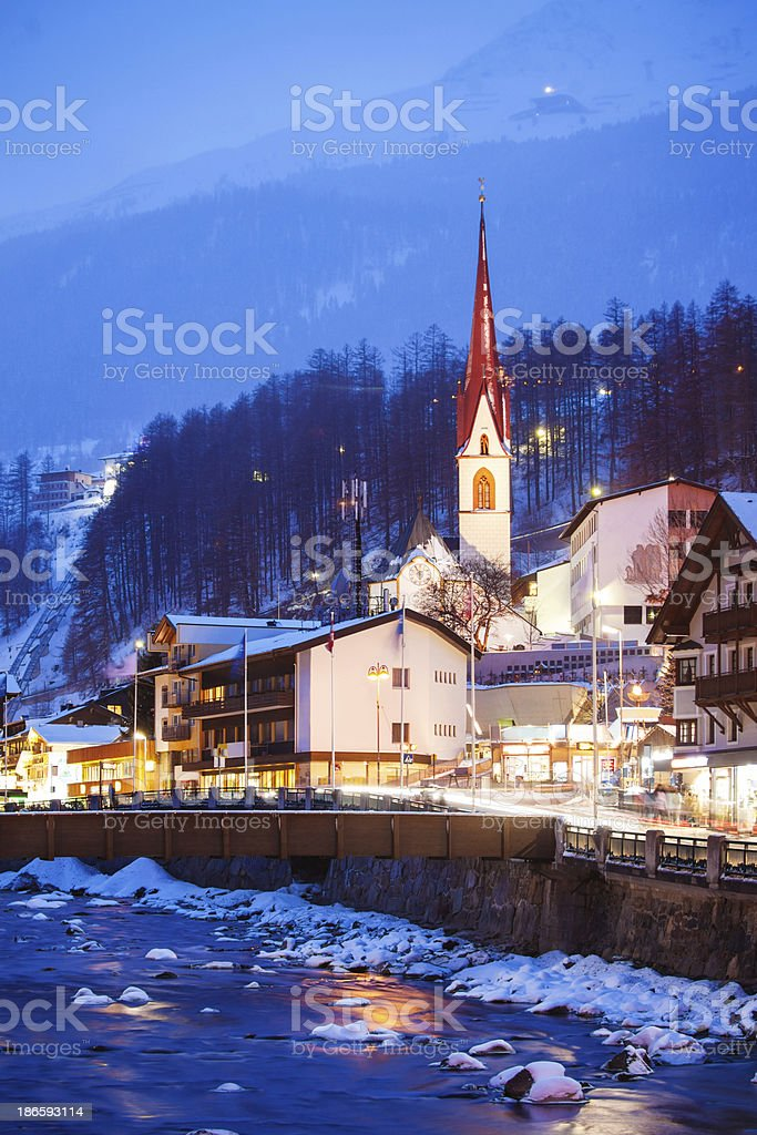 Evening in Austrian town, Alpes royalty-free stock photo