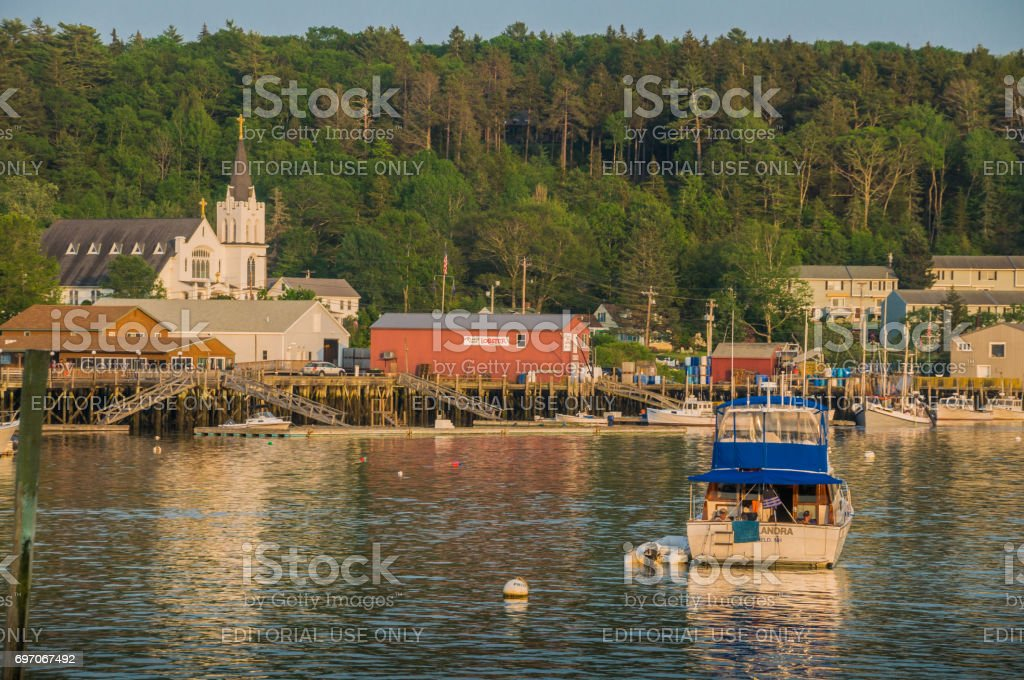 Evening in Boothbay Harbor stock photo