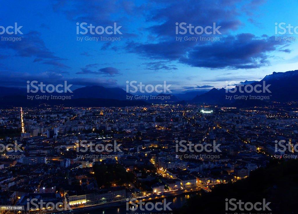 Evening in Grenoble stock photo