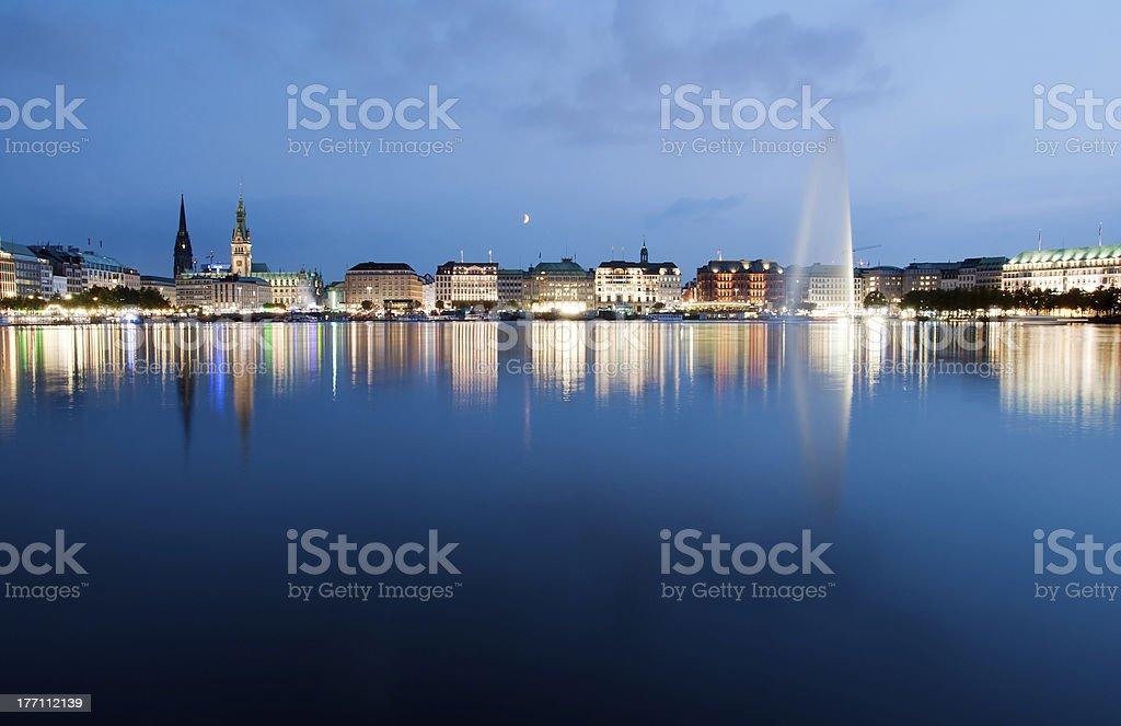 Evening in Hamburg stock photo