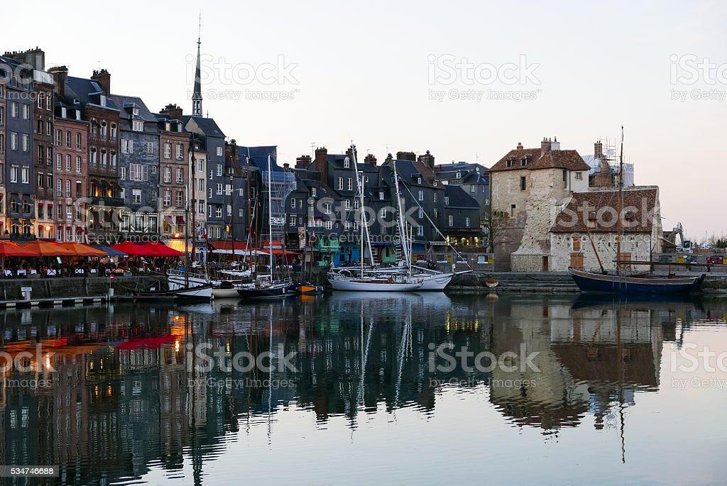Evening in Honfleur harbor, France (1) stock photo