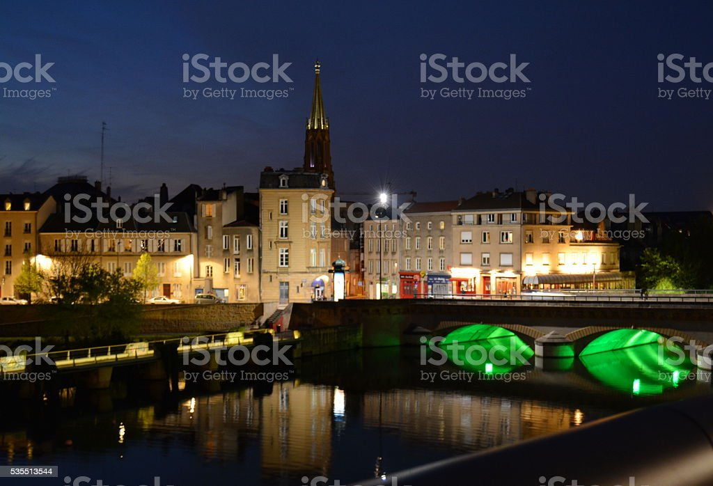 Evening in Metz, France. stock photo