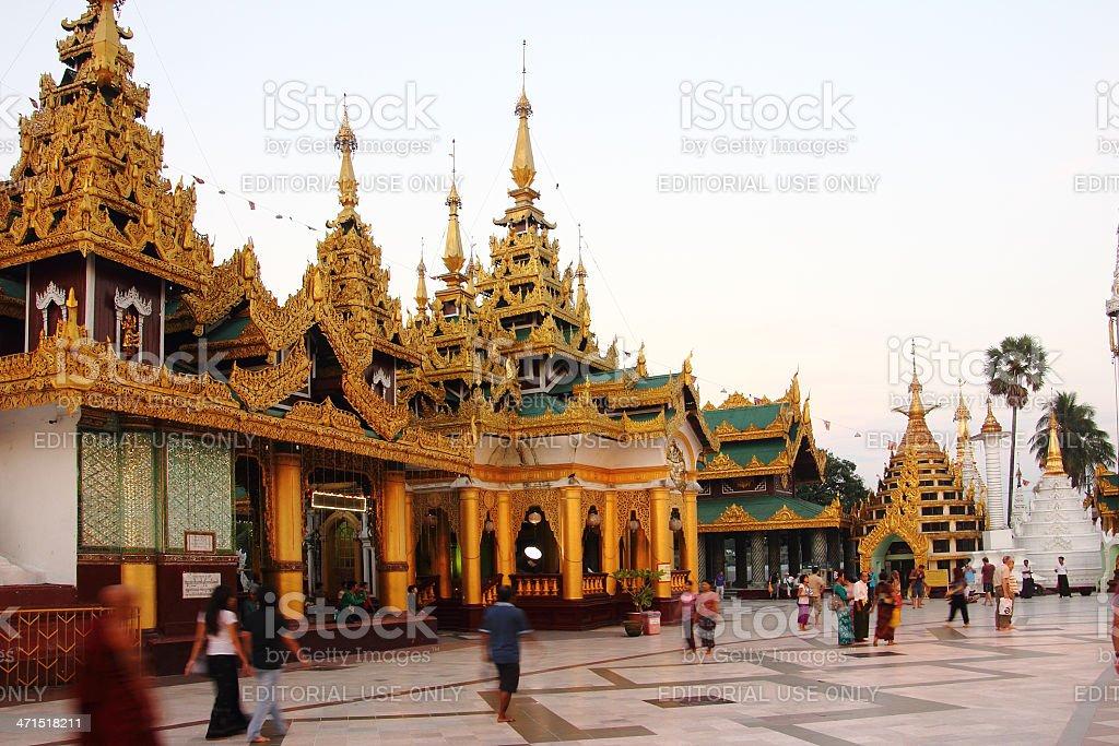 Evening in Shwedagon pagoda Yangon royalty-free stock photo