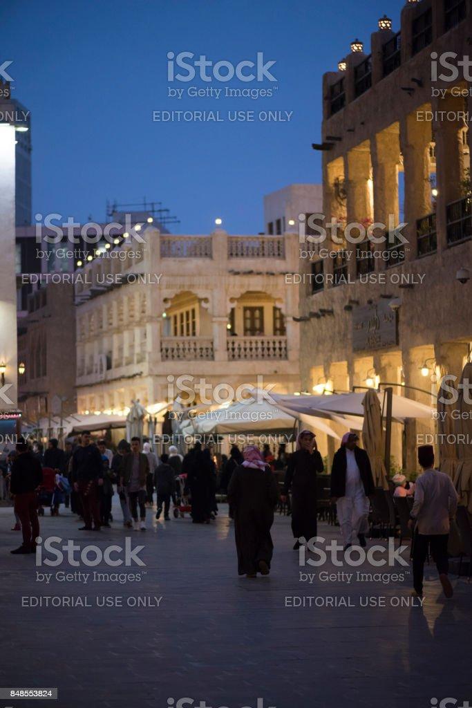 Evening in Souq Waqif, Doha, Qatar stock photo
