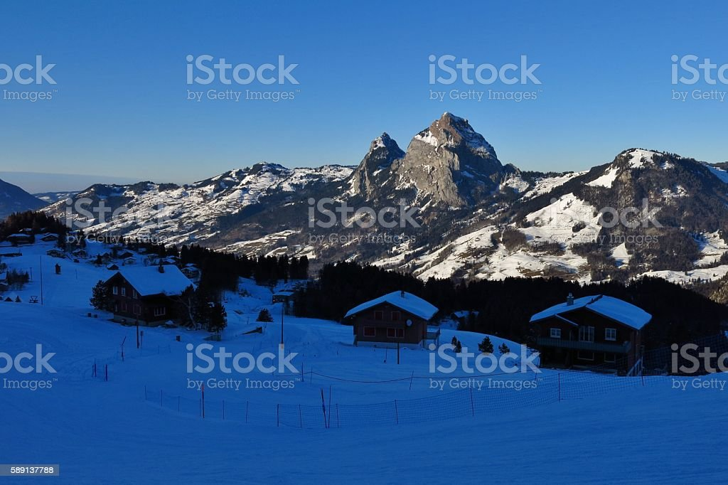 Evening in Stoos, Swiss Alps stock photo