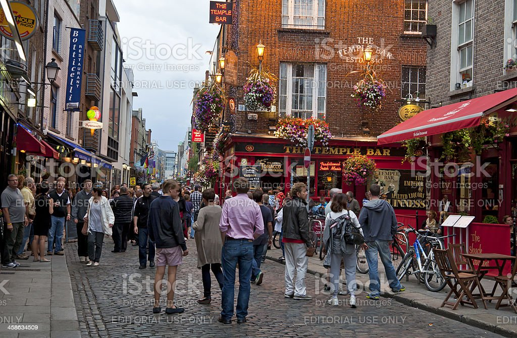 Evening in Temple Bar, Dublin stock photo