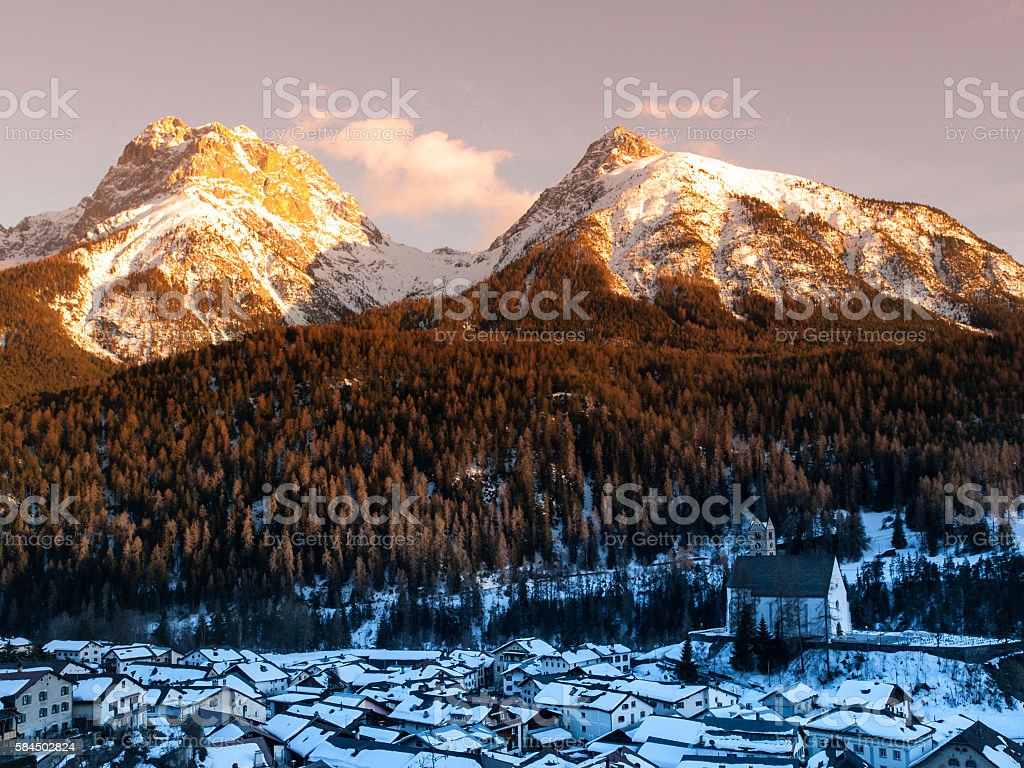 Evening in the alpine village stock photo