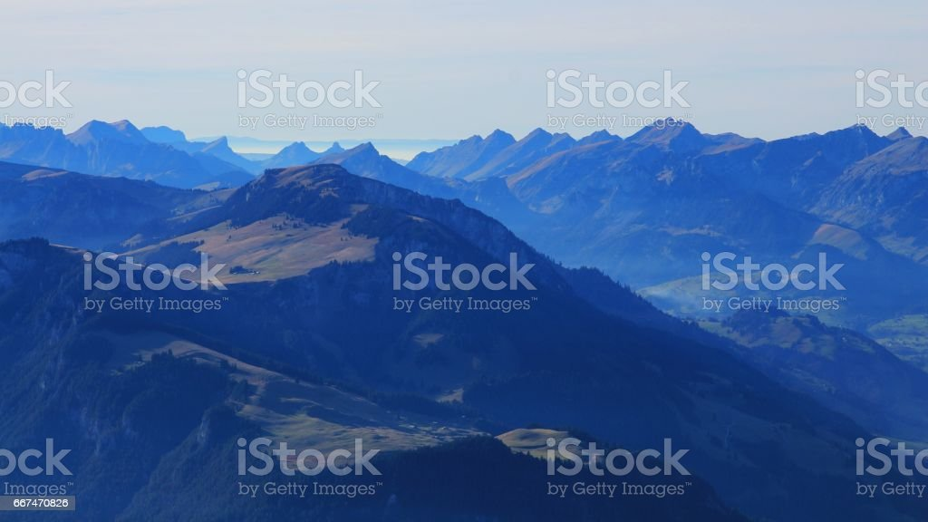 Evening in the Bernese Oberland stock photo