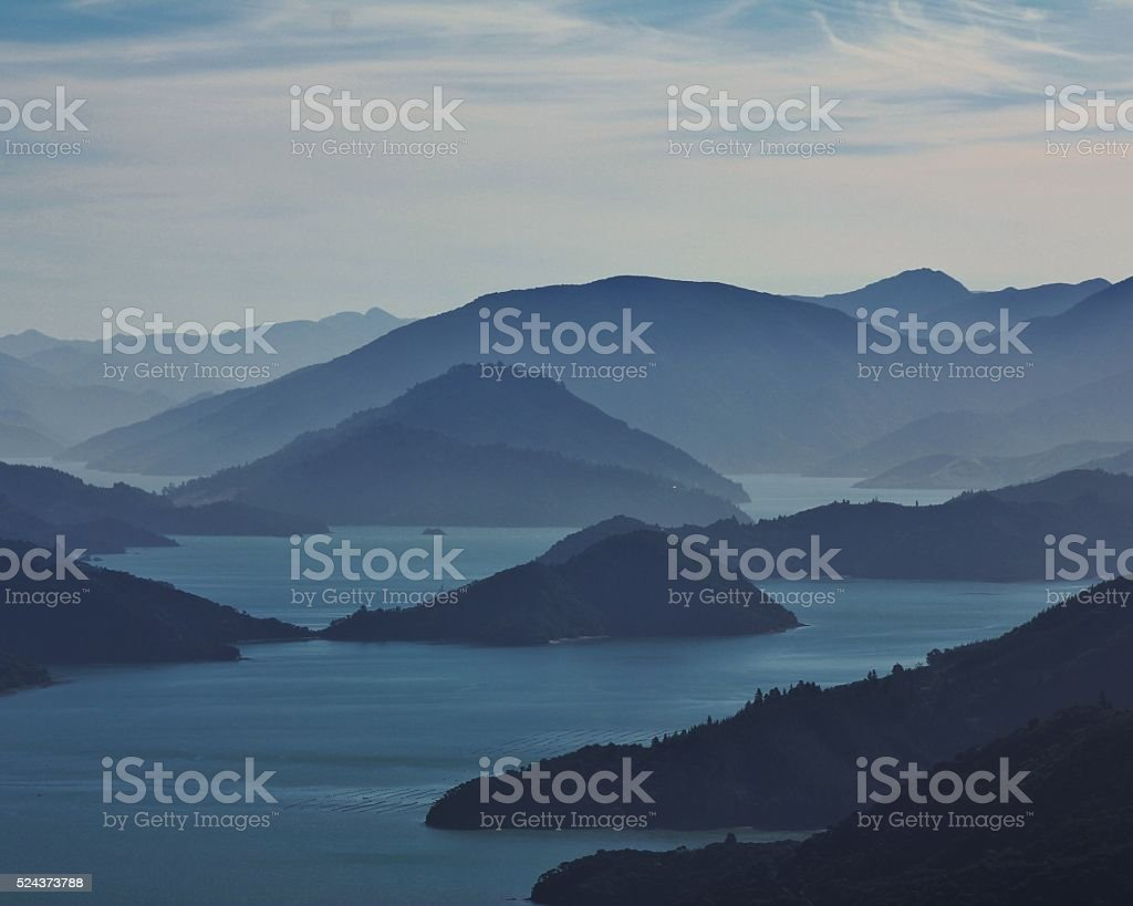 Evening in the Marlborough Sounds stock photo