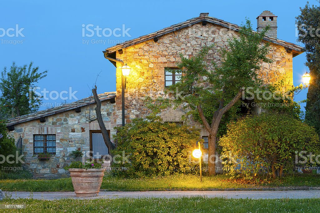 Evening in Val d' Orcia, Tuscany, Italy royalty-free stock photo