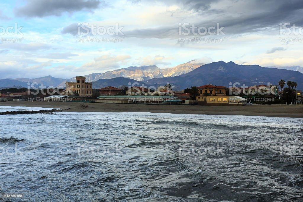 Evening Italian coast. stock photo