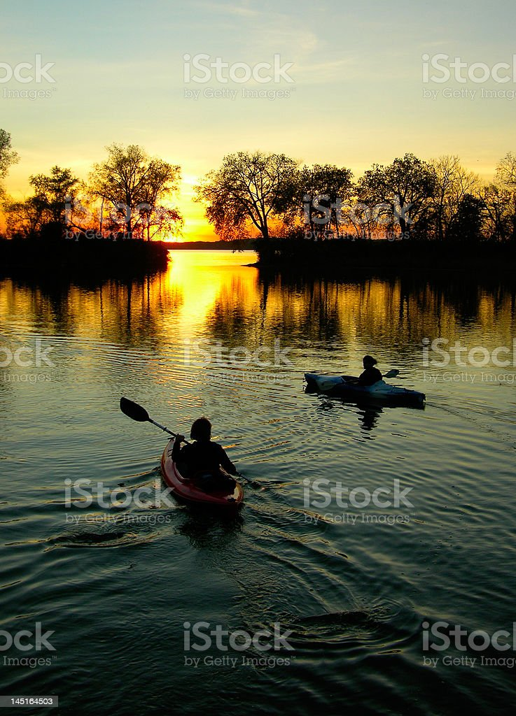 Evening Kayakers royalty-free stock photo