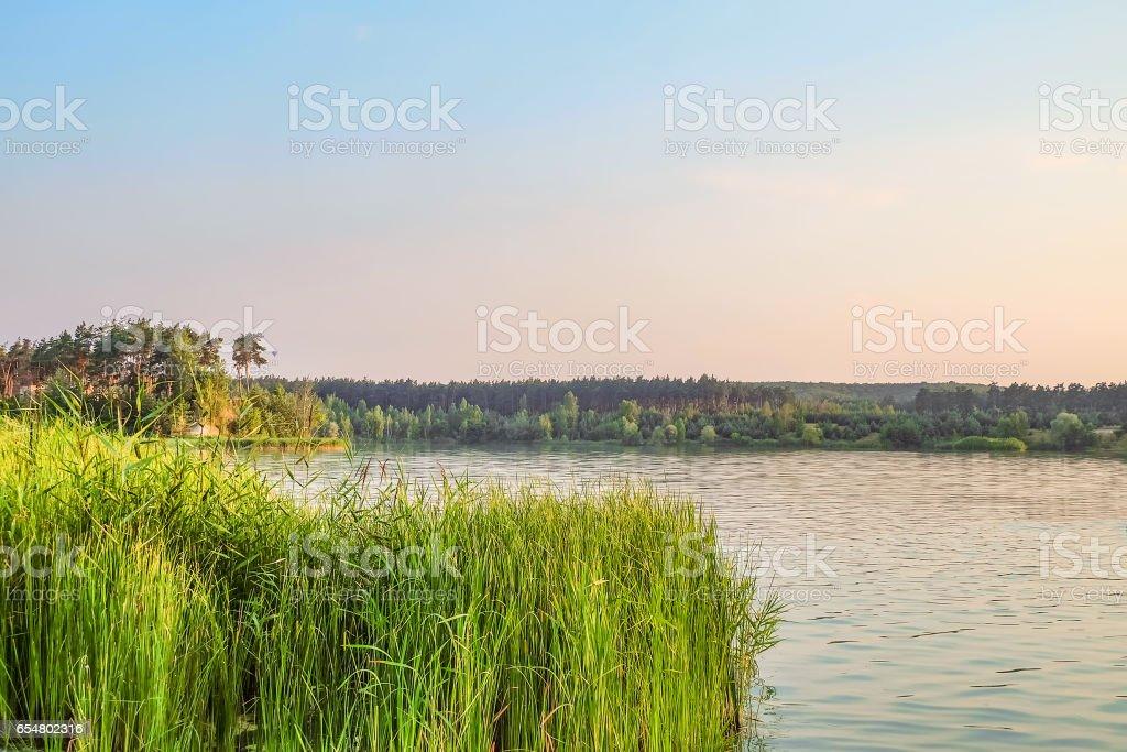 Evening lake landscape of Central Russia. Belgorod region. stock photo