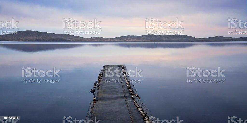 evening landscape of lake stock photo