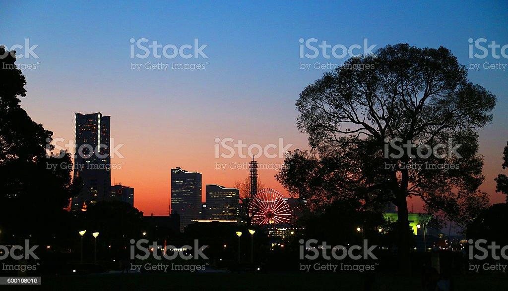Evening landscape of Yokohama foto de stock libre de derechos
