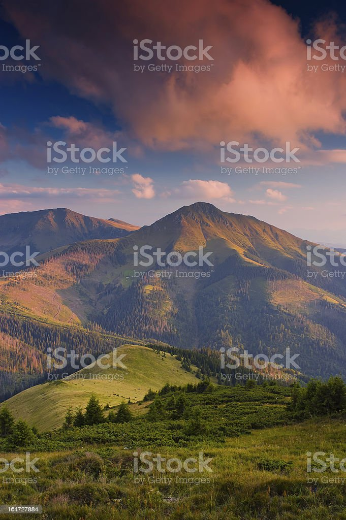 Evening landscape with red clouds royalty-free stock photo