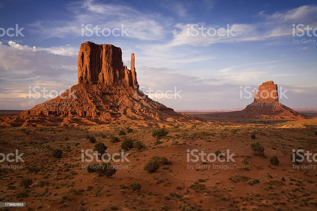 Evening Light and The Mittens at Monument Valley stock photo