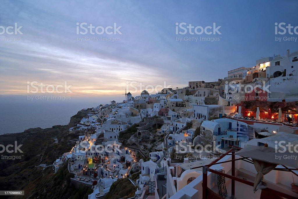 Evening light in Santorini stock photo